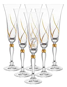 "Set of 6 Handcrafted Champagne Crystal Glass Drinking Glasses with Real Gold Detailing, Unique Luxurious Gift for Men and Women - For Aperitive Drinks, 10"" Height, 7 oz"