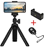 Mini Flexible Tripod holder with Wireless Remote Shutter, Adjustable Mobile Phone Mount, Universal Octopus Stand for iPhone, Samsung, Camera (Black)