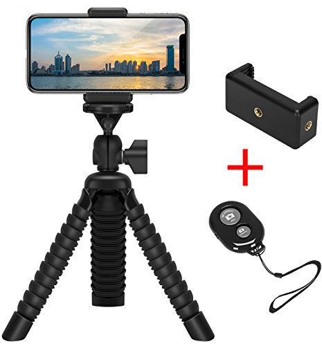 Mini Flexible Tripod Holder with Wireless Remote Shutter, Adjustable Mobile Phone Mount, Universal Octopus Stand for iPhone, Samsung, Camera (Black) from ZTON