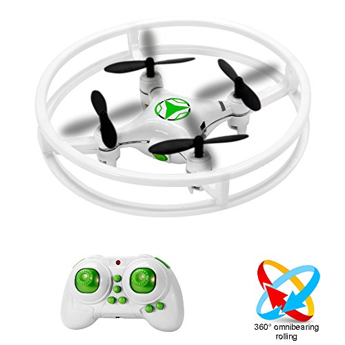 Super Durable Nano Quadcopter Drone with Protective Bull bars for Children / Beginners Gyro with 3D Flip Flash Light (Function Flashlight Quad)