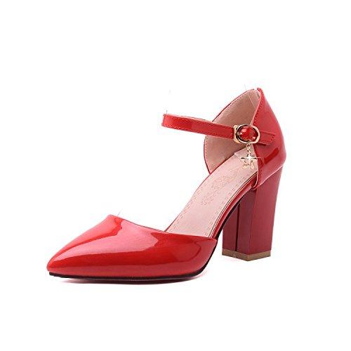 fibbia grosso tacco a con ZHZNVX Red tacco bottone baotou un alto sandali Punta con T4xpwqER