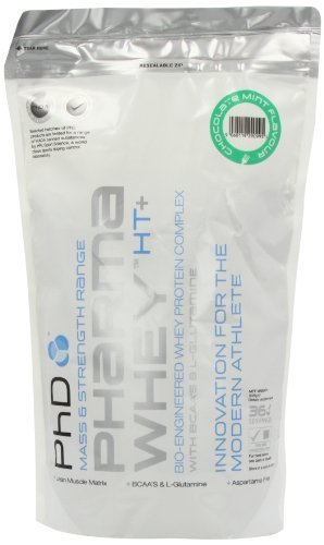 PhD Pharma Chocolate Mint Flavoured Whey Eco Pouch Protein Powder 908g by CLFDI (English Manual)