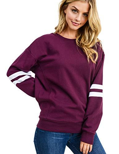 Women's Ultra Soft Fleece Stripe on Sleeves Varsity Solid Sweatshirt, Plum, Small (For Crewneck Women Sweatshirts)