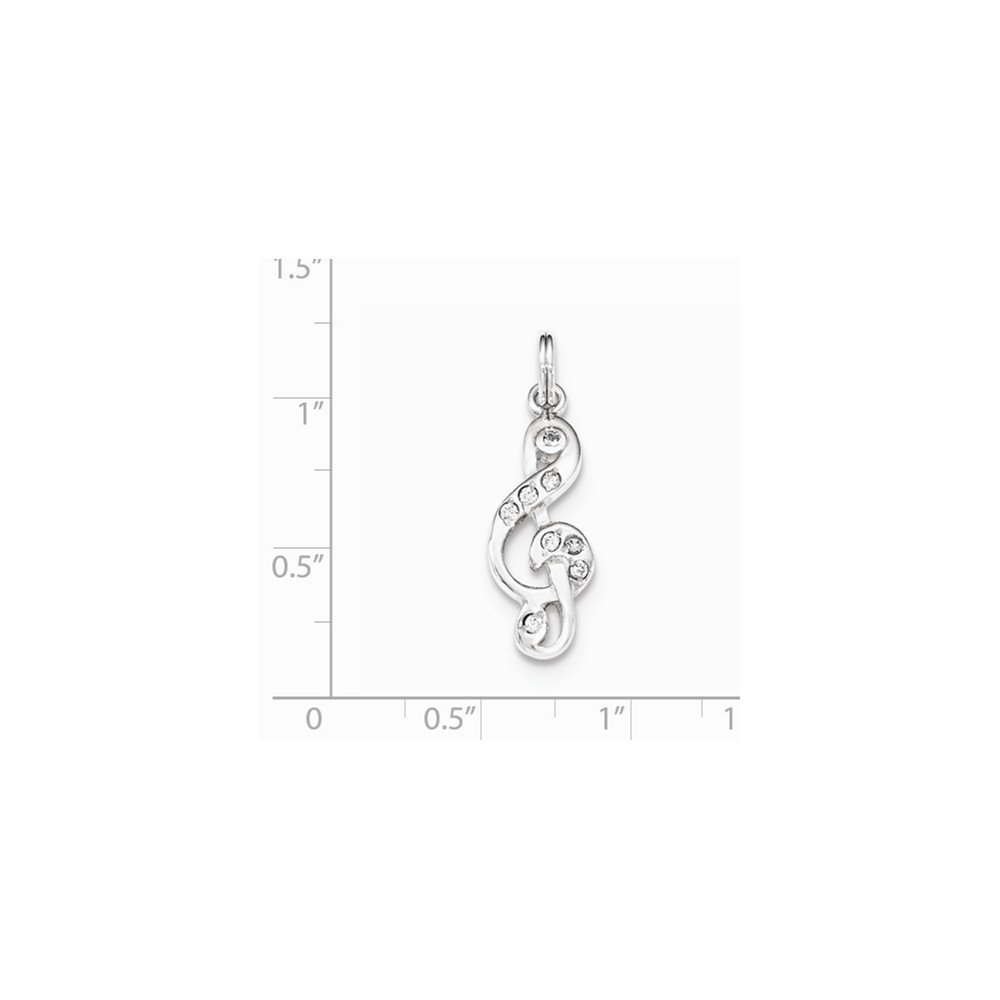 925 Sterling Silver Polished Music Note Charm