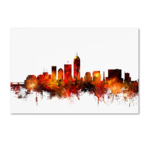 picture of Trademark Fine Art Indianapolis Indiana Skyline II by Michael Tompsett, 12x19-Inch