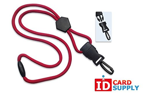 100 - Red Lanyards with Breakaway 1/4 (6mm) Strap and DTACH Plastic Swivel Hook ending [ 2135-4512 ] -