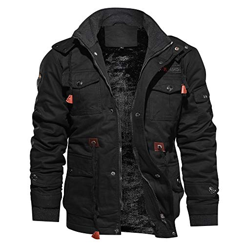Men Jacket Winter,Male Cashmere Thickened Cotton Warm Coat Pocket Outwear Plus Size (3XL, Black) - Cashmere Double Breasted