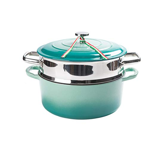 (Steamer Enamel Thickening Cast Iron Small Steamer 1 Layer Household Electromagnetic Furnace Soup Pot Non-stick Enamel Stew Pot)