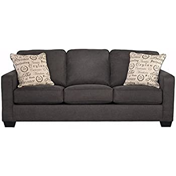 Ashley Furniture Signature Design   Alenya Sofa With 2 Throw Pillows    Microfiber Upholstery   Vintage Casual   Charcoal