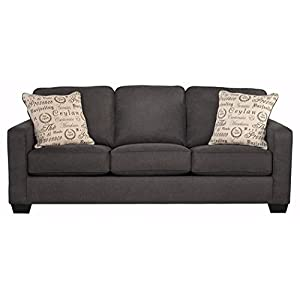 Ashley Furniture Signature Design – Alenya Sofa with 2 Throw Pillows – Microfiber Upholstery – Vintage Casual – Charcoal