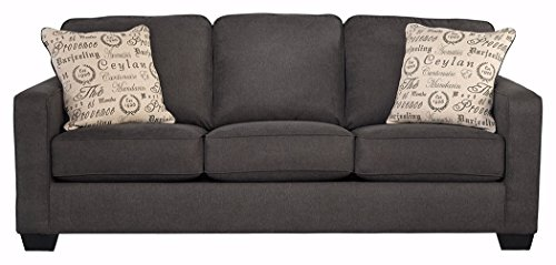 Sofa Set Leather Signature - Ashley Furniture Signature Design - Alenya Sofa with 2 Throw Pillows - Microfiber Upholstery - Vintage Casual - Charcoal