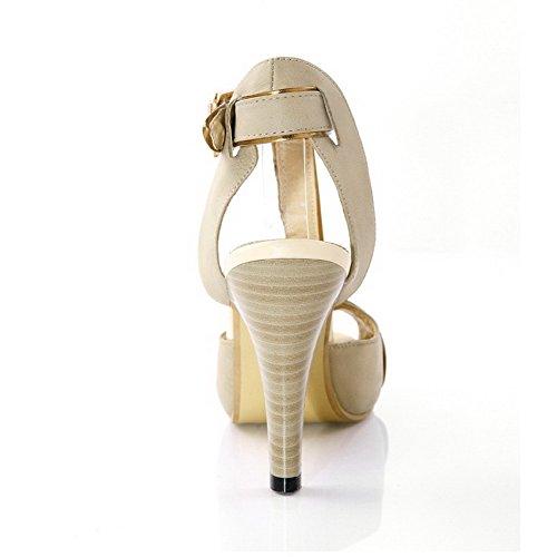 Amoonyfashion Mujeres Solid Cow High-heels De Cuero Hebilla Peep Toe Hebilla Sandalias Beige