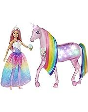 Barbie GWM78 – Dreamtopia magisk trollerilampa enhörning med beröringsfunktion, ljus och ljud, docka leksak och docktillbehör från 3 år