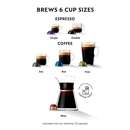 Nespresso Vertuo Next Coffee & Espresso Machine NEW by Breville, Light Grey, Coffee Maker and Espresso Machine + Nespresso Capsules VertuoLine Medium and Dark Roast Coffee, 30 Count Coffee Pods