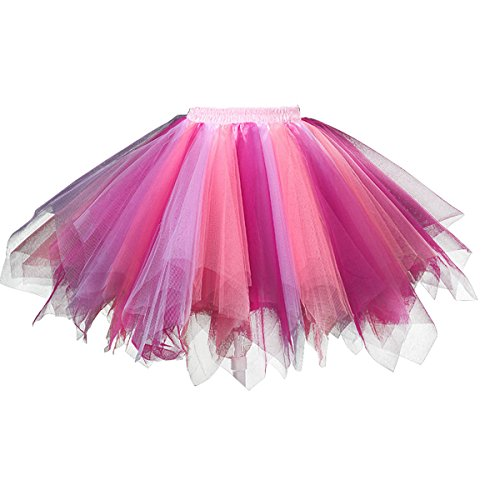 Topdress Women's 1950s Vintage Tutu Petticoat Ballet Bubble Skirt (26 Colors) Coral Fuchsia L/XL