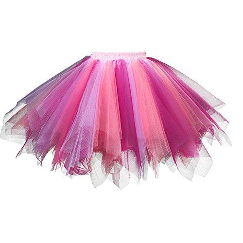 For Women Tutu (Topdress Women's 1950s Vintage Tutu Petticoat Ballet Bubble Skirt (26 Colors) Coral Fuchsia)