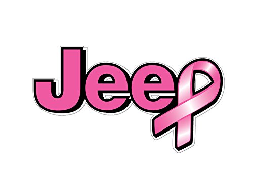 Breast Cancer Logo - 1065 Jeep logo Breast Cancer Awareness ribbon 2 pack
