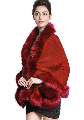 Faux Fur Shawl Wrap Stole Shrug Bridal Winter Wedding with Hook - Wrap Jacket Wool