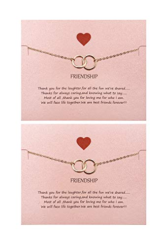 Your Always Charm Double Heart Infinity Knot of Friendship Bracelets (J:2 Rose Gold Circle)