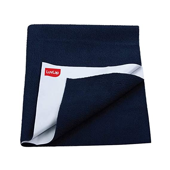 LuvLap Instadry Extra Absorbent Dry Sheet/Bed Protector - Navy Blue, 0m+ - Small 50 x 70cm