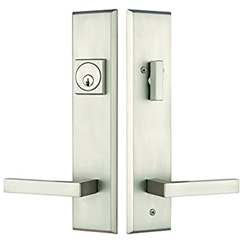 Rockwell Times Square Entry Door Lock Handle Set With Delta Lever In  Brushed Nickel Finish,
