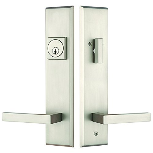 Rockwell Times Square Entry Door Lock Handle set with Delta lever in Brushed Nickel Finish, Durable commercial & residential, door hardware, door handles, locks