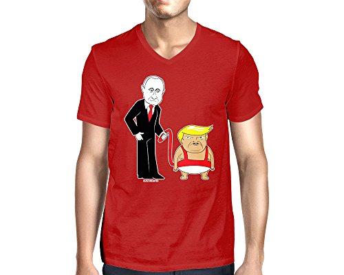 's Leash V-Neck T-Shirt (Red, Medium) ()