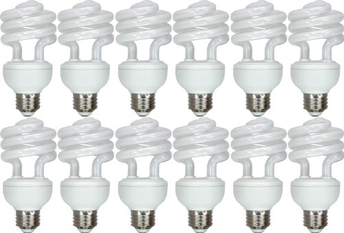 GE Lighting 64006 Energy Smart Spiral CFL 20-Watt (75-watt replacement) 1200-Lumen T3 Spiral Light Bulb with Medium Base, 12-Pack