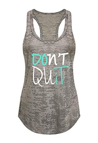 Tough Cookie's Women's Don't Quit Do It Printed Art Burnout Tank Top (X-Large - LF, Heather Grey)