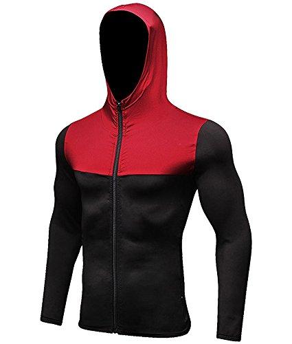 Jessie Kidden Men's Quick-Dry Gym Workout Hoodie Jacket Sports Running Sweatshirt #9003-Black/Red, US XL (Asia XXL) (Red Hoodie Sweatshirt Jacket)