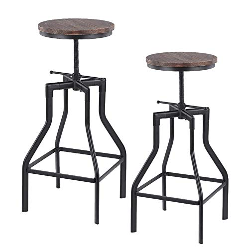 - Adjustable Wrought Iron Bar Chair 1/2-Set Bar Stools, Swivel Counter Height Bar Chair Retro Finish Industrial Style Metal Bracket Suitable for Bar Family Gatherings,2pcs