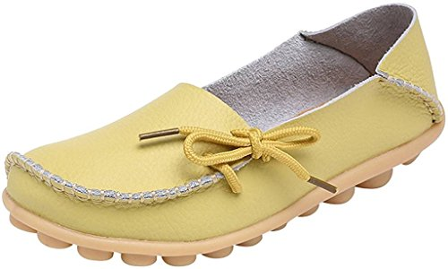 Fangsto Women's Leather Slipper Loafers Flat Shoes Slip-ONS Sty-1 Celery