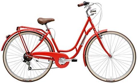 Bicicleta de 28 pulgadas para mujer Adriática Danish Shimano, 6 V, color rojo