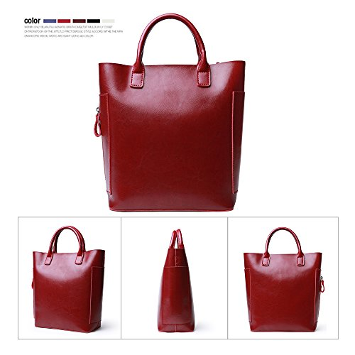 Bag G Popular Bag 2way 2018 Capacity Wine Luxury Simple Women's Tote Commuting Gray Bag 163 Handbag Shoulder red Plain JVPS New Large B05TqwT