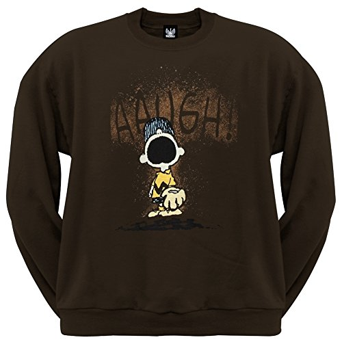 Peanuts - Augh Band Crew Neck Sweatshirt X-Large Brown (Band Crewneck Sweatshirt)