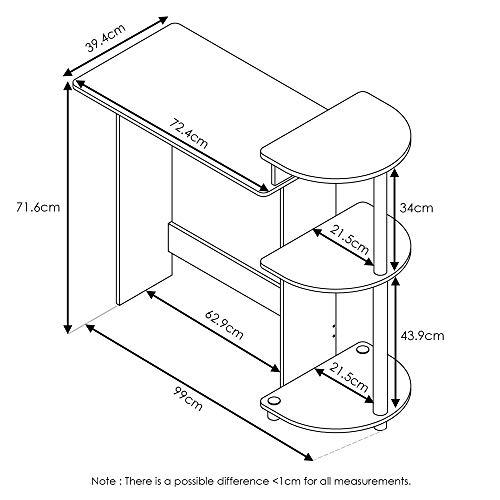 FURINNO Compact Computer Desk with Shelves, Round Side, Espresso/Black