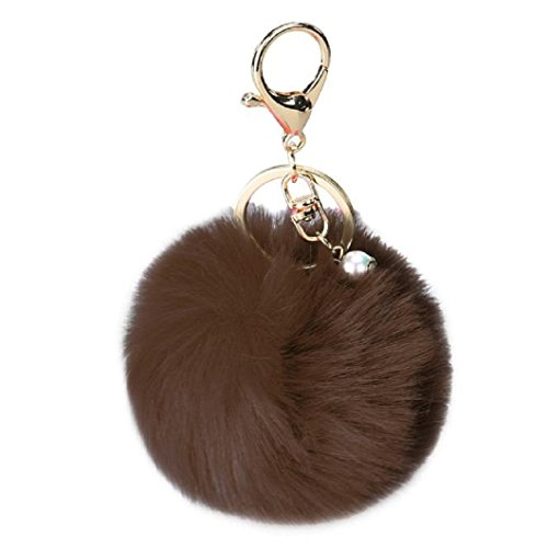 DZT1968® Solid Color Imitate Rabbit Fur Ball Keychain Handb