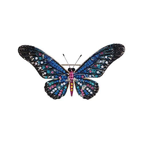 BriLove Women's Bohemian Boho Crystal Beaded Butterfly Enamel Brooch Pin Blue Gold-Tone