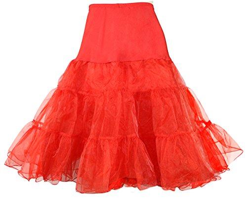Modeway Women's Ruffle Petticoats Tea Length Crinolines Tutu Skirts(XS-M,Red) y4