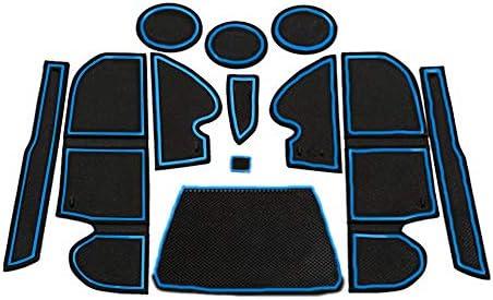 Muchkey Car Door Gate Slot Storage Mats Anti-dust Interior Cup Mats Blue For Kuga 12PCS//Set