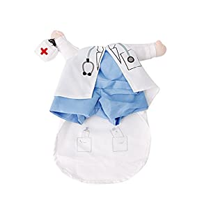 Kocome Funny Pet Costume Dog Cat Costume Cat Clothes Sexy Nurse Policeman Cowboy (L, Doctor)