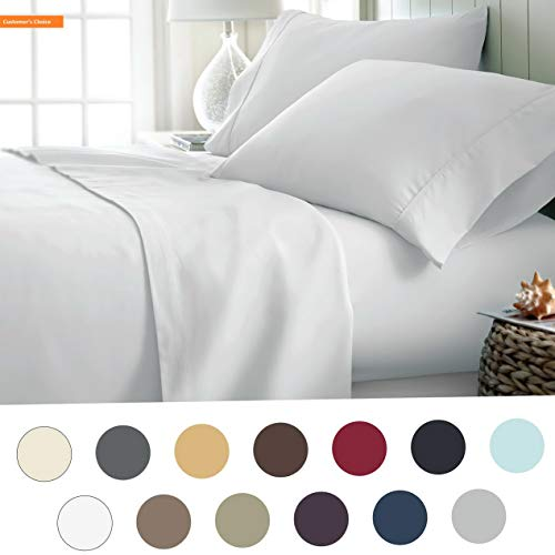 Mikash New Soft Hotel Collection Luxury Soft Brushed Bed Sheet Set, Hypoallergenic, Deep Pocket, Full, White | Style 84599007