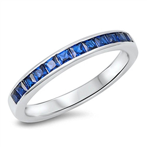 Simulated Blue Sapphire Princess Cut Eternity Band .925 Sterling Silver Ring Size 7 ()