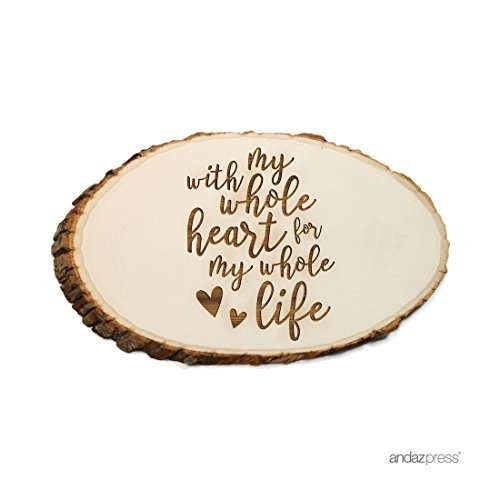 With All My Heart Guest Book (Andaz Press Laser Engraved Wood Slab, With My Whole Heart for My Whole Life, 1-Pack, Natural Tree Slices For Wedding Guestbook Table Rustic Log Bark Table Centerpiece Decor)