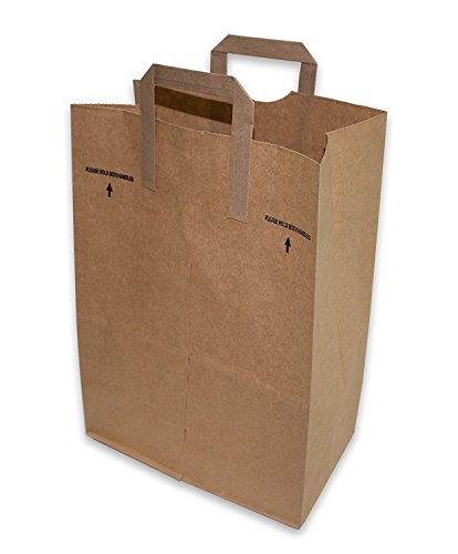 50 Paper Retail Grocery Bags Kraft with Handles 12x7x17 by Duro -