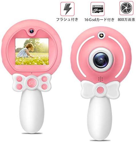 [해외]【 2019 진화 판 】 키즈 카메라 2.0 인치 HD IPS 디스플레이 4 배 줌 HD1080P 16Gsd 카드를 갖춘 자동 촬영 가능 포트 프레임 녹화 가능 어린이 선물 남녀 공통 일본어 설명서 첨부 ainol (핑크) / [2019 Evolution Versio