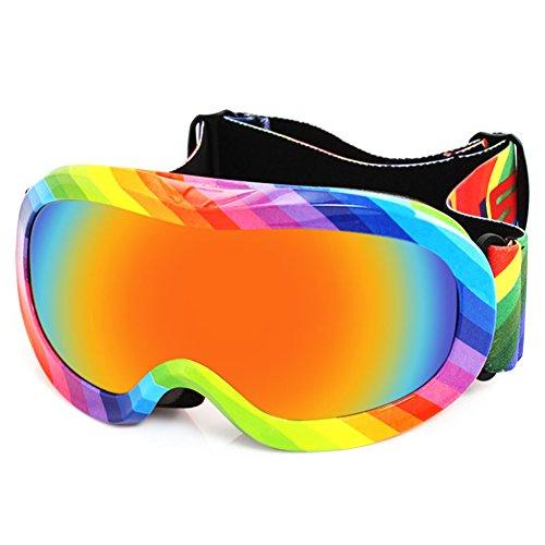 SE7VEN Masques De Ski Enfants,Double Couche Anti Brouillard Sphérique Ultra Wide-ange Lentille Sphérique Bonne Vision Claire Snowboard Goggles A