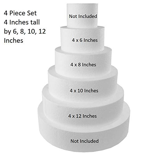 """Round 4"""" Cake Dummies - Set of 4 (4"""" High by 6"""" 8"""" 10"""" 12"""")"""