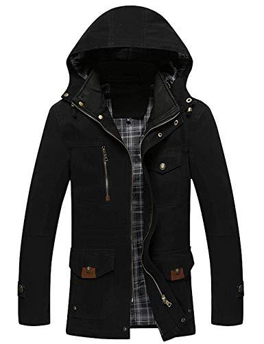 - Hanglin Trade Men's Slim Stand Collar Front Zipper Mid-Long Cotton Jacket Coats with Detachable Hood(Black-X-Small