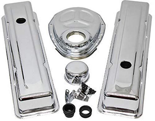 (Pirate Mfg Sb Chevy Sbc Chrome Short Valve Cover Engine Dress Kit - 1955-93 265 305 350 400)